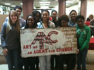 A.A..C. members with students from Baldwin County High School's Youth Poetry Collective